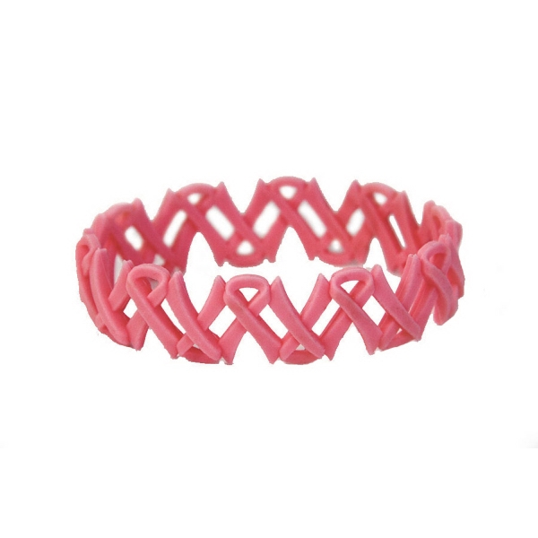 Breast Cancer Awareness Cutout Ribbon Link Wristband