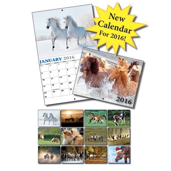 13 Month Mini Custom Photo Appointment Wall Calendar - HORSE