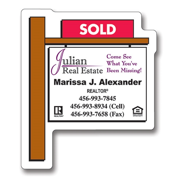 Magnet - Real Estate Sold Sign Shape (2.25x2.75) - 30 Mil.