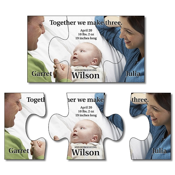 Announcement Magnet - 3-Piece Puzzle Shape (3.5x2) - 25 mil.