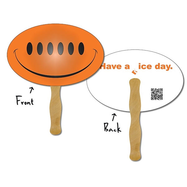 Hand Fan - Laminated 9.3125x6 Oval Shape - 14 pt.