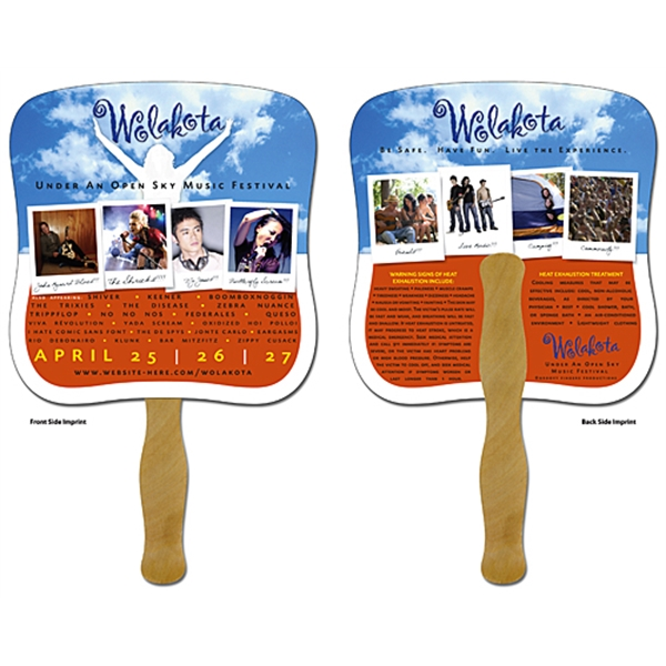 Hand Fan - 7.375x7.75 Laminated - 14 pt.