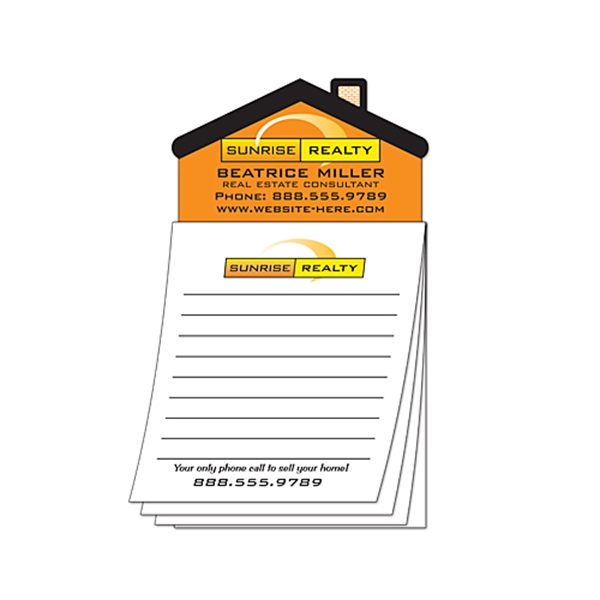 Custom Magna-Pad - 3.5x6.25 25-Sheet with House Shape Magnet