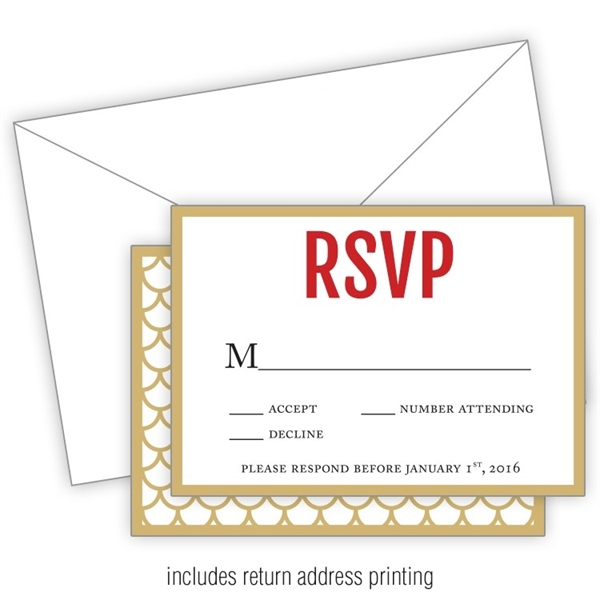 Wedding RSVP Card Flat with Printed Envelopes - 3.5x5
