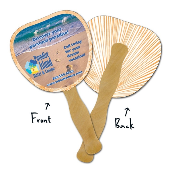 Mini Hand Fan - 5.25x5.5 Palm/Leaf Shaped Laminated - 14 pt.