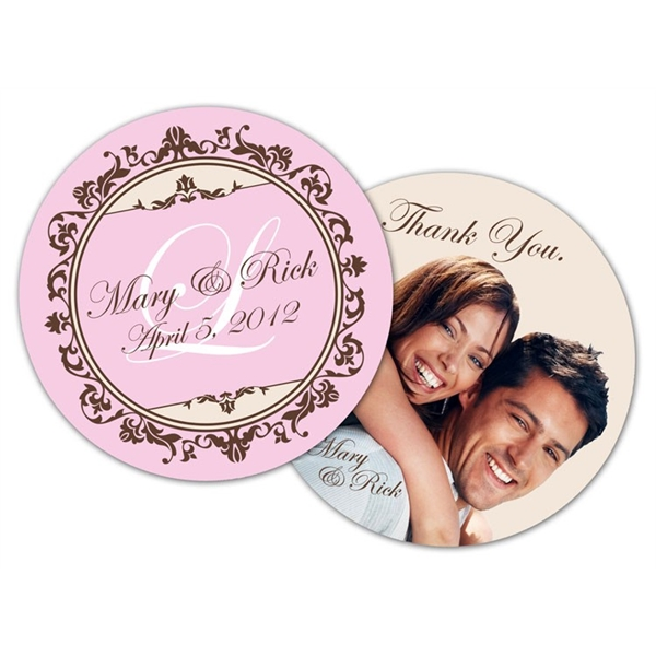 Wedding Drink Coaster - 3.75 Inch Diameter Circle - 18 pt. P