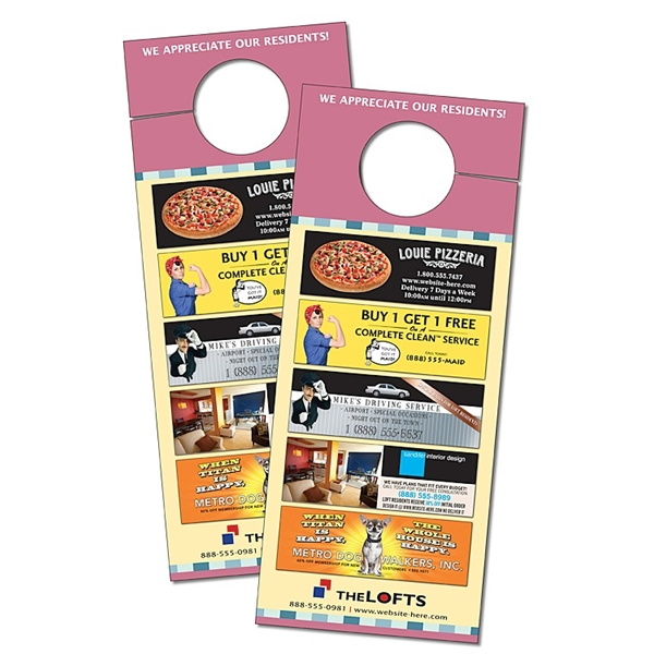 Plastic Door Hanger - 3.5x8.5 UV-Coated (1S) with Slit - 10