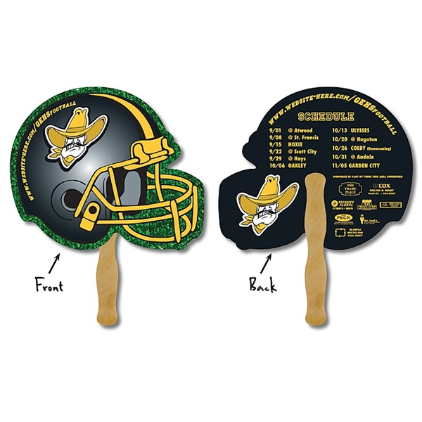 School Hand Fan - 10 x 8.5 Football Helmet Shaped Laminated