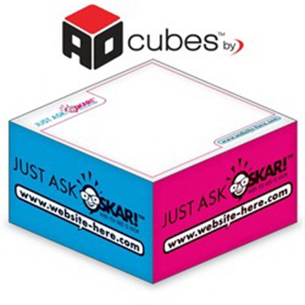Ad Cubes (TM) - Memo Notes - 2.75x2.75x1.375-3 Colors, 1 Sid