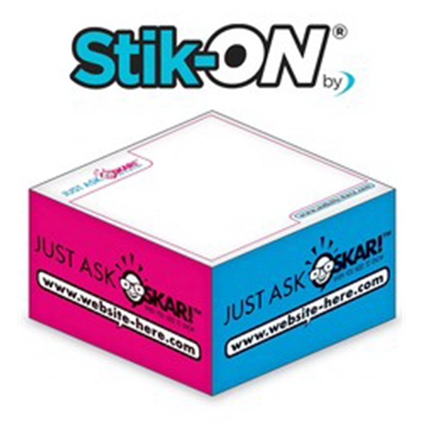 Stik-ON(R) - Adhesive Note Cubes - 2.75x2.75x1.375-3 Colors,