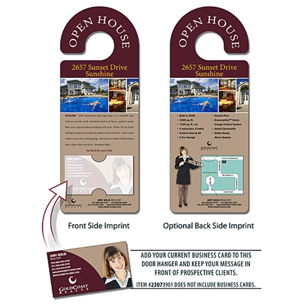 Real estate door hanger 4x10 5 round handle door hanger for 10000 door hangers
