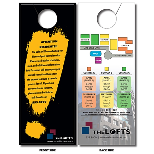 Door Hanger - 4x10 UV-Coated (1S) Extra-Thick with Slit - 14