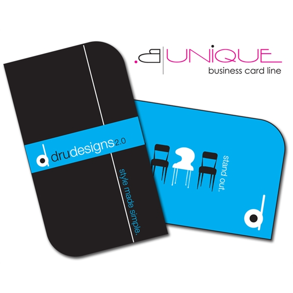 Extra-Thick UV-Coated (1S) Paper Business Card - B. Unique S