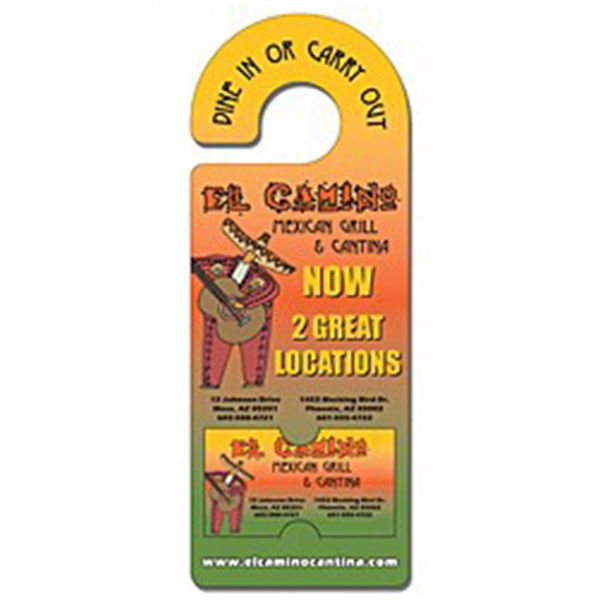 Plastic Door Hanger - 4x10.5 Laminated with Rounded Handle a
