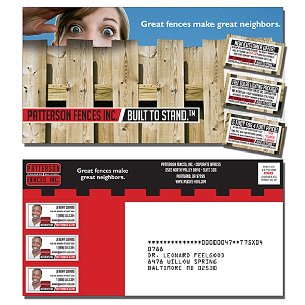 Laminated Postcard with 3 Perforated Coupons (10.5x5.5 Squar