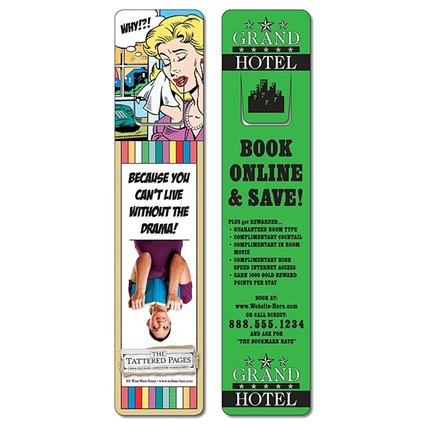 Plastic Bookmark - 1.75x8 UV-Coated (1S) w/Page Holder - 10