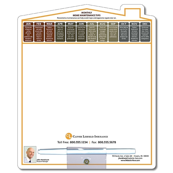 Memo Board - 8.5x10.125 Laminated Shaped (Home/House) - 14 p