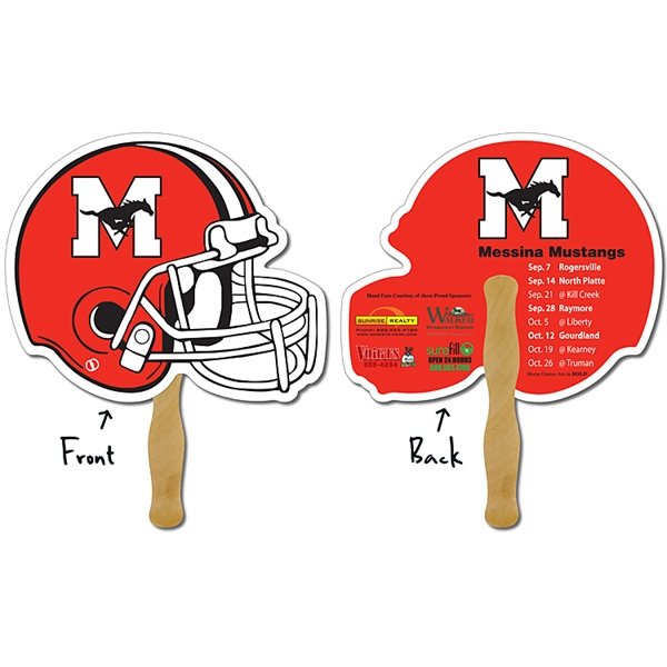 Sport Hand Fan - 10 x 8.5 Football Helmet Shape Laminated -