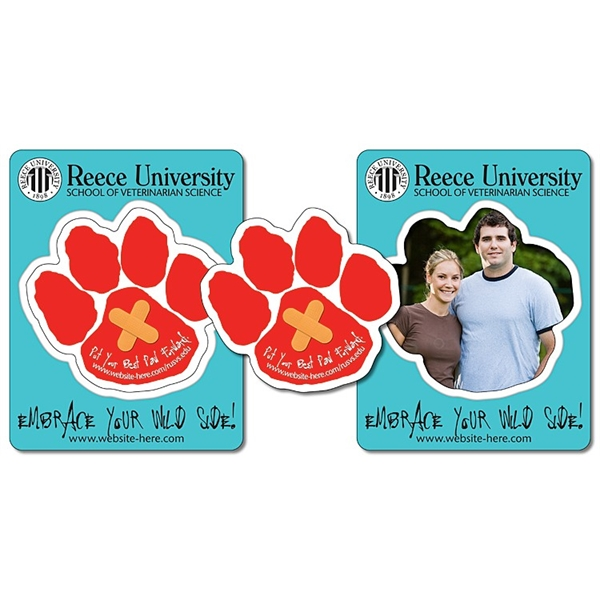 School Picture Frame Magnet (3.5x4.5) - Paw Shape Punch (3x2