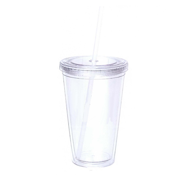 16 oz. Clear Acrylic Double Wall Tumbler with Colored Straw