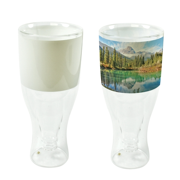 12 oz. Double-Wall Beer Glass w/ Patch