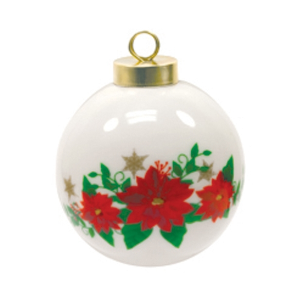 Christmas Ball Ornament - Poinsettia