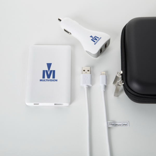 Slim power bank with car charger and MFi Apple cable set