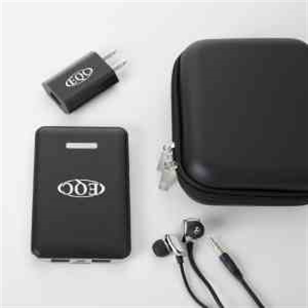 Power bank with wall charger and earphone tech gift set