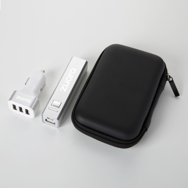 Portable power bank and car charger tech gift set