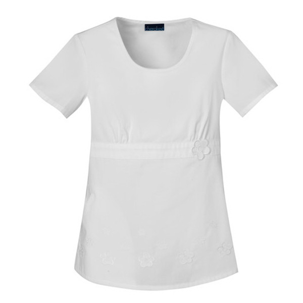 Cherokee Fashion Solids Round Neck Embroidered Top