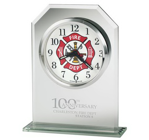 Valiant firefighter's tabletop clock