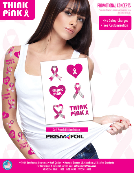 Breast Cancer Awareness PrismFoil Custom Tattoo Sheet