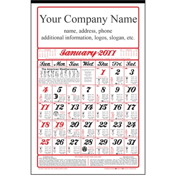 Six Sheet / Full Size Almanac Wall Calendar