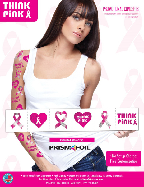 Breast Cancer Awareness PrismFoil Metallic Strip of Tattoos