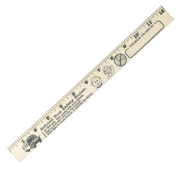 School Bus Safety U Color Rulers - Natural Wood Finish