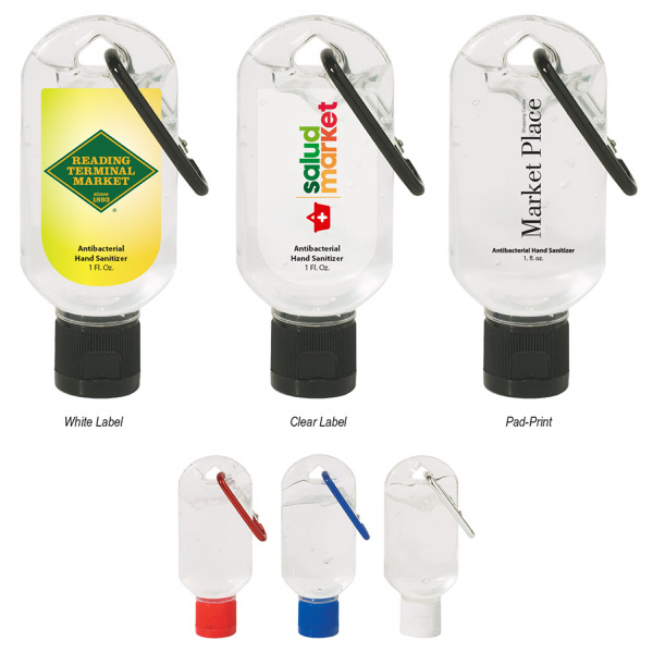 1 Oz. Antibacterial Hand Sanitizer Bottle with Carabiner