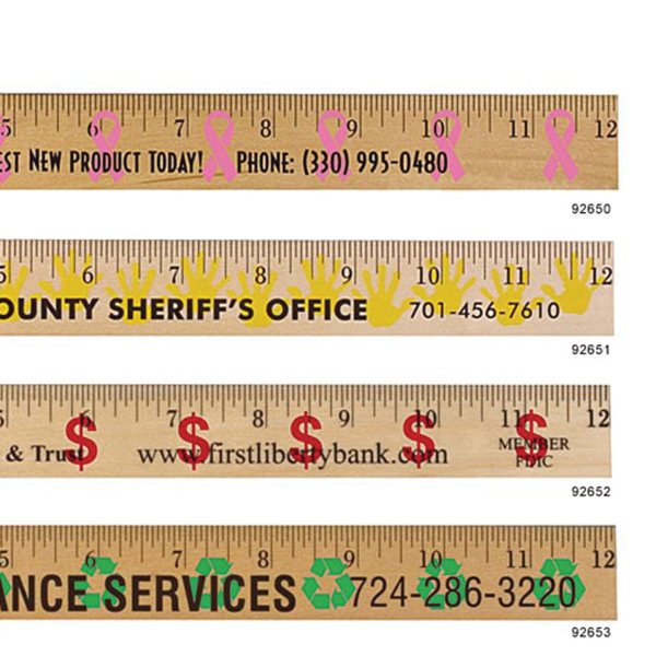 "12"" Dollar Sign Background Rulers-Clear Lacquer Finish"