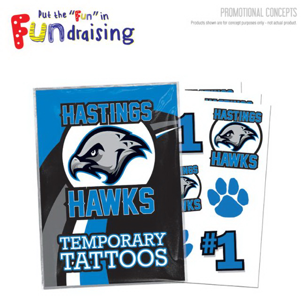 School Fundraiser Custom Pack of Temporary Tattoos