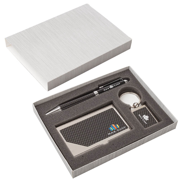 Carbon Fiber Pen, Business Card Case & Keyring Set