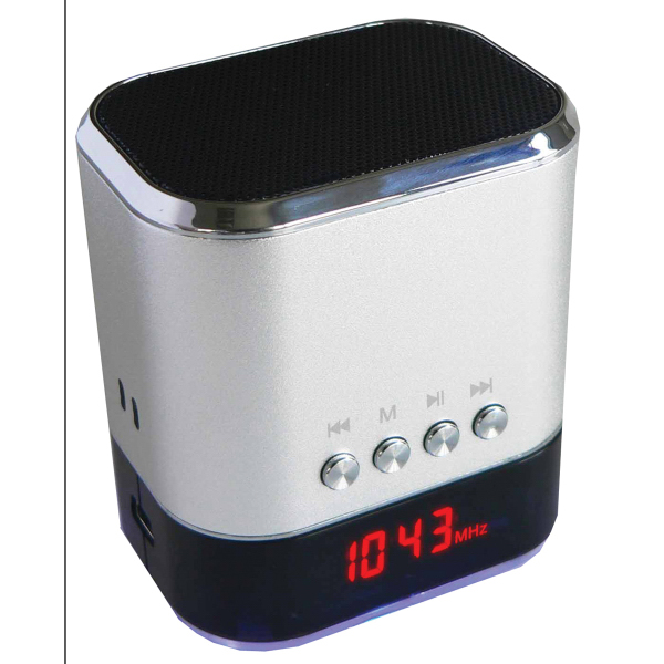 Portable MP3 Speaker w/ USB/SD/AUX Inputs & FM Radio(Silver)