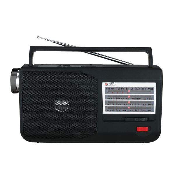 5 Band AM/FM/TV/SW Radio w/ Flashlight & USB/SD Inputs