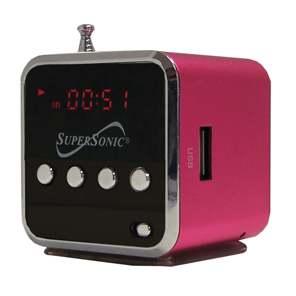 Portable Rechargeable MP3 Speaker & FM Radio (Red)