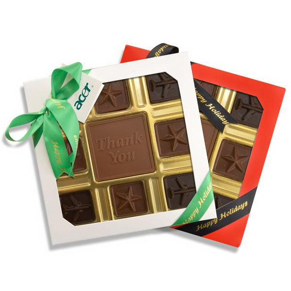 Custom Chocolate with Chocolate Squares Gift Box