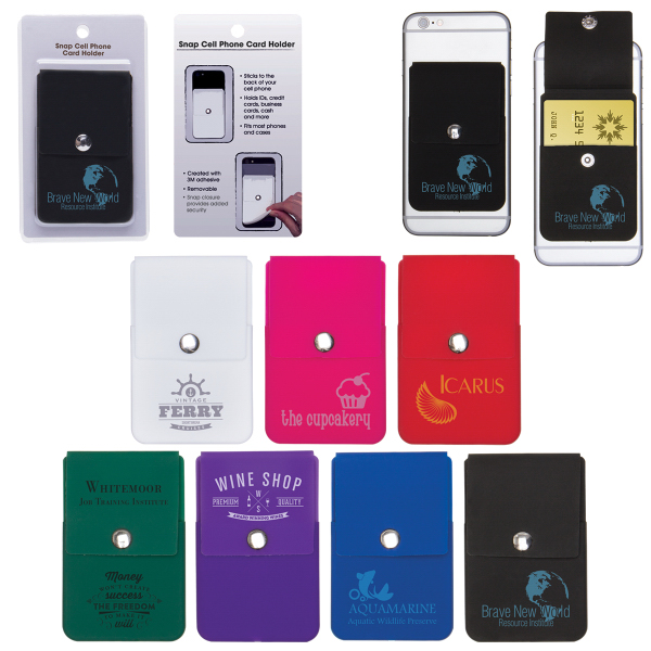 Snap Cell Phone Card Holder w/Packaging