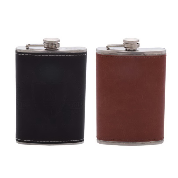 Leather Wrapped 8oz Flask