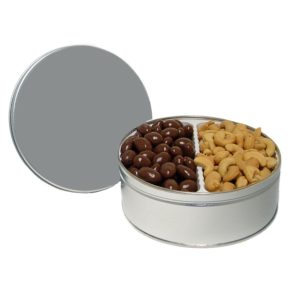 30 oz. Chocolate Almonds/Cashews in Custom Tin