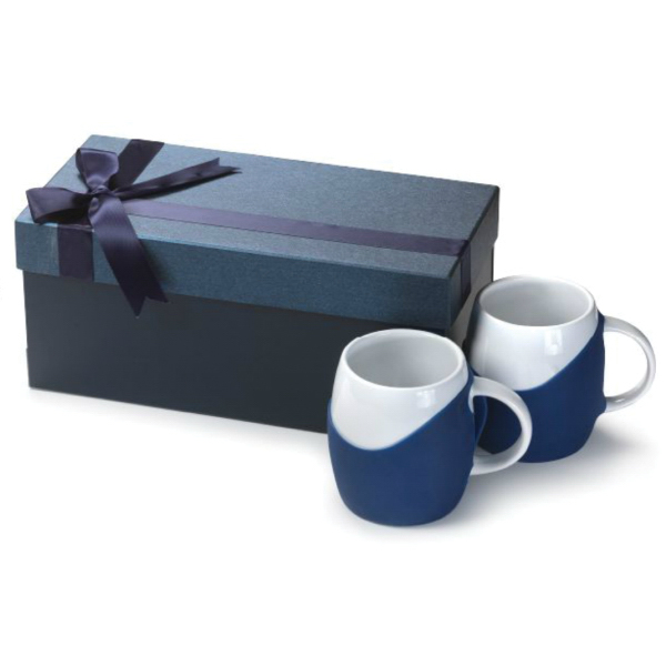 14 oz Rotunda Ceramic Mugs With Silicone Grip Gift Set