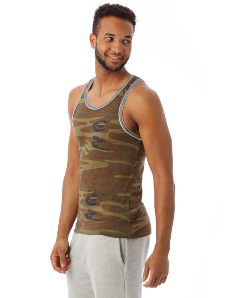 Men's Printed Double Ringer Tanktop