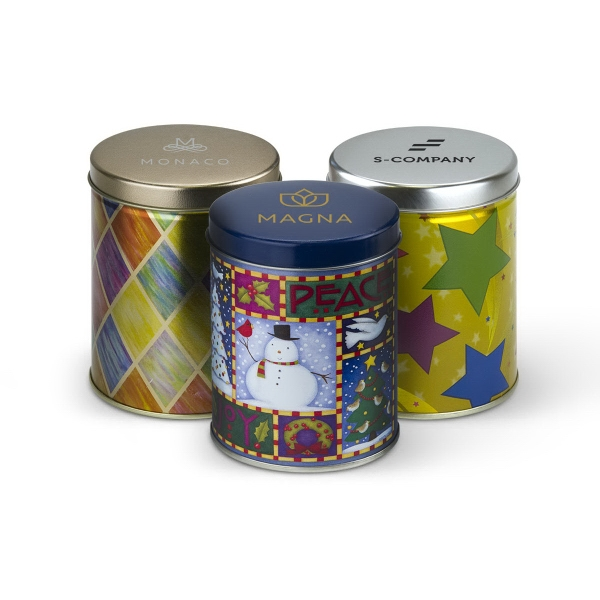 Tall Holiday Printed Gift Tins