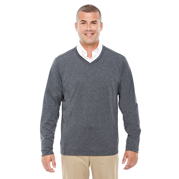 Devon & Jones Men's Fairfield Herringbone V-Neck Pullover